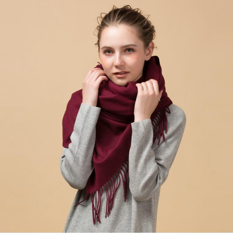 Luxury Brand Winter 100% Lambswool Large Blanket   Scarf     Wrap   Women Pashmina Shawl and   Scarves   330g Thicken Soft Warm 200x70cm