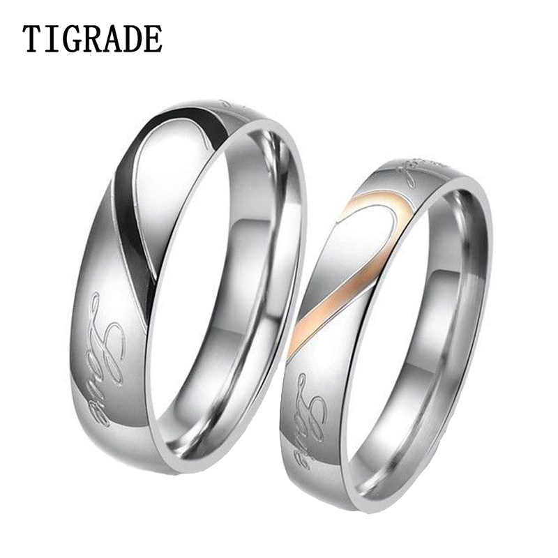 aliexpresscom buy tigrade 2pcsset couple ring stainless steel love heart match puzzle wedding band engagement rings for men women valentine gift from