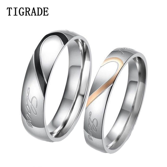 tigrade 2pcsset couple ring stainless steel love heart match puzzle wedding band engagement rings - Puzzle Wedding Rings