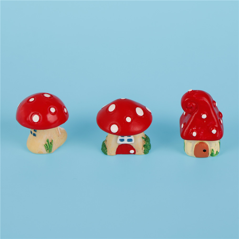 Gnome Garden: 3Pcs/Set Cute Cartoon Red Mushroom House DIY Resin Fairy