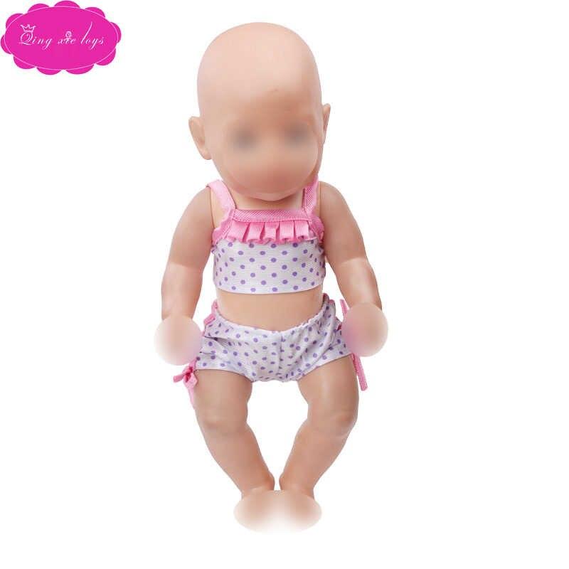 43 Cm Babypoppen Badpak Pasgeboren Zomer Print Bikini Set Baby Speelgoed Jumpsuits Fit Amerikaanse 18 Inch Meisjes Pop F184-f592