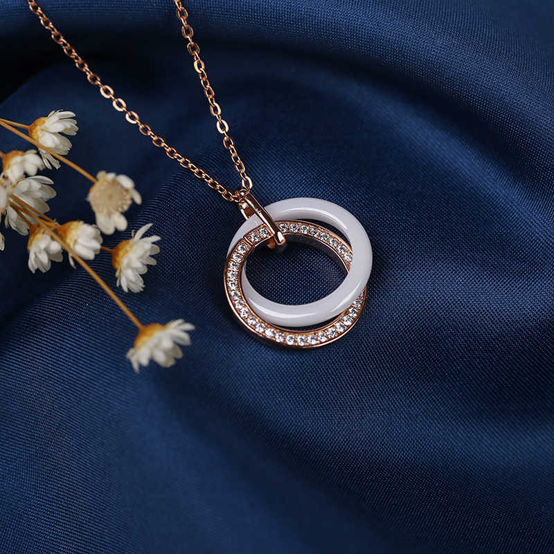 585 rosa ouro duplo círculo pingente colar com uma linha de cristal saudável confortável cerâmica feminino colar presente noivado