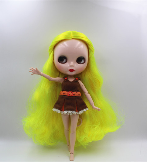 Blyth doll Fluorescent yellow, curly hair, naked dolls, 19 joints, gift toys, can be changed. 35cm collectible chinese dolls ancient costume summer girl dolls with 12 joints movable vintage season series bjd doll toys gift