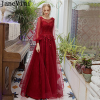 JaneVini Vestidos Lace Sequins Beads Mother of the Bride Dresses With Appliques Long Sleeves Women Evening Gowns Abendkleid Lang