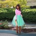 Nueva Longitud de La Rodilla Verde Tutú de La Falda de Satén de La Cremallera de La Cintura Una Línea de Faldas Moda Mujer Faldas de Tul de Verano de Adultos