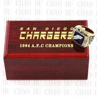 1994 년 AFC 샌디에고 충전기 미국 축구 우승 반지 10-13Size 팬 선물 높은 품질의 나무 상자