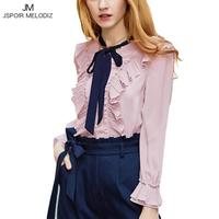 High Quality Princess Women Chiffon Beading Blouse Long Flare Sleeve Pink Tops Bow Tie Collar Loose