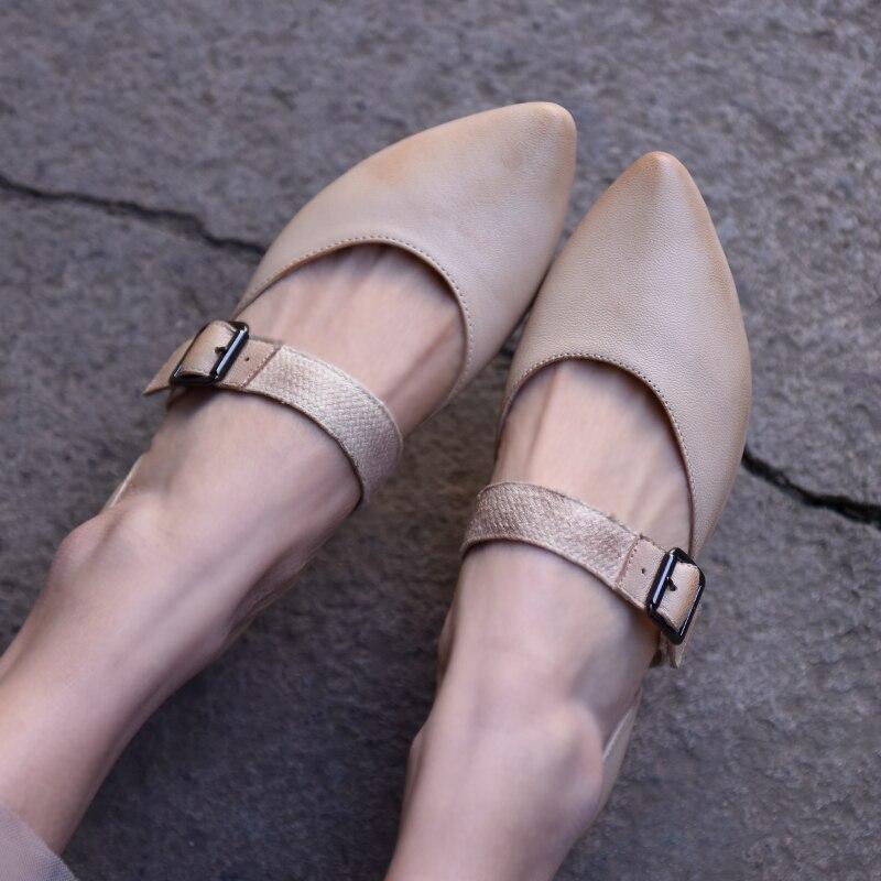 Artmu ฤดูใบไม้ผลิใหม่ Retro Pointed Toe ผู้หญิงรองเท้าหนังแท้เข็มขัดหัวเข็มขัดทำด้วยมือรองเท้าแตะแบนรองเท้า J601 12-ใน รองเท้าส้นสูงเตี้ย จาก รองเท้า บน   1