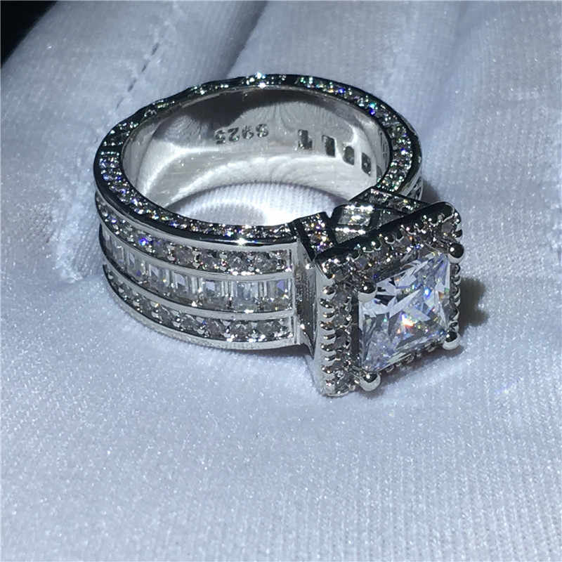 Choucong, Винтажное кольцо, 925 пробы, серебряное, принцесса, огранка, AAAAA, cz камень, обручальное кольцо, кольца для женщин, ювелирное изделие, подарок