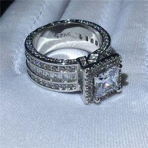 Image 4 - Choucong Vintage Gericht Ring 925 sterling Silber Prinzessin cut AAAAA cz stein Engagement Hochzeit band Ringe Für Frauen Schmuck Geschenk