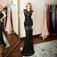 Kişilik akşam elbise vestido de festa seksi siyah uzun pullu balo törenlerinde örgün parti elbise vestido de mujer
