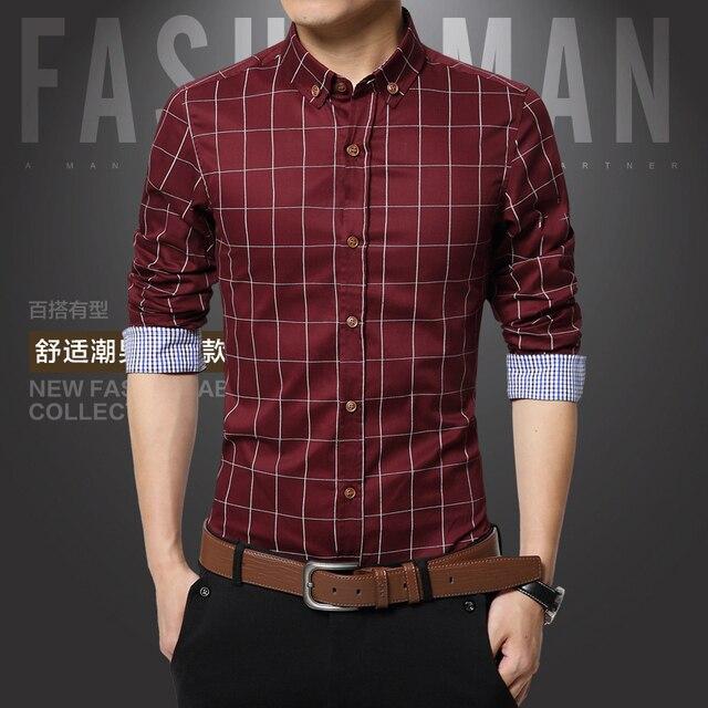 2016 autaum 100% cotton men plaid social shirts puls sizes business office slim fit long casual dress shirt camisa masculina
