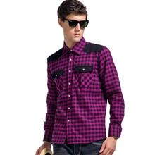 Lesmart Mens Shirt CTN Plaid Fashion Business Casual Turn-down Collar Patchwork Long Sleeve Dress wash and wear Camisa Masculina