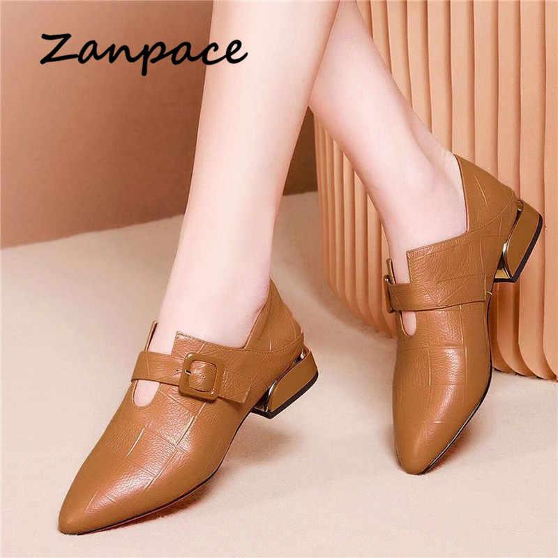 Zanpace Britischen Stil Leder Stiefel Frühling Spitz Schuhe Frau Verdickt High Heels Stiefel Schnalle Dual-zweck Stiefel