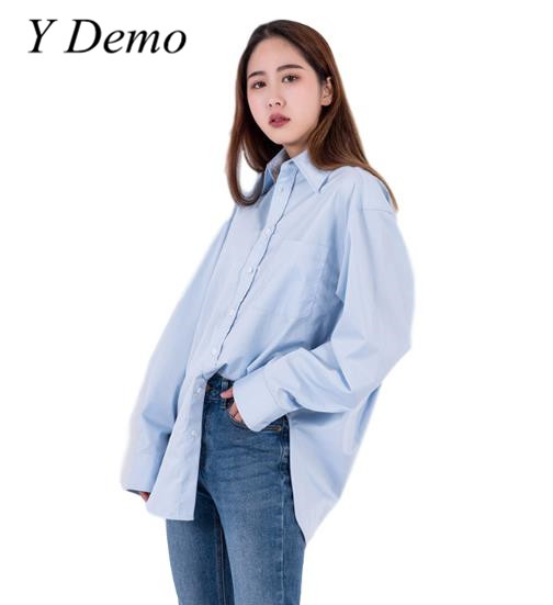 Y Demo Spring Womens Oversized Shirt Boyfriend Style Solid Color Brief Pocket Office Lady Shirts