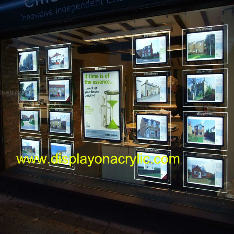 ФОТО (Pack/12units) A3 Daul Sided Illuminated Real Estate Listing Cable Suspended Window Displays for Real Estate,Properties Agent