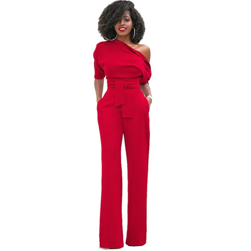 Fashion Oblique Jumpsuit 5 Color Solid Women Office Casual Half Sleeve Slim Fit Long Jumpsuit Overalls One-piece Pants w/ Sashes