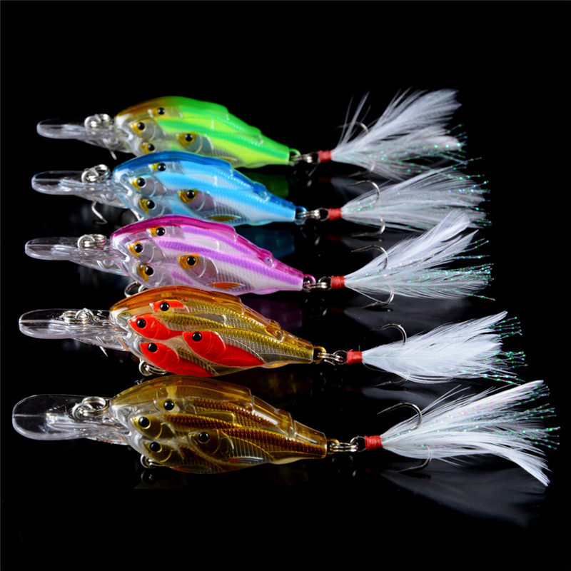 5PCS Super shoal 5 Colors 7cm 6.5g Hard Bait Minnow Fishing lures Bass Fresh Salt water 6# hook with feather Tackle Wobblers wldslure 1pc 54g minnow sea fishing crankbait bass hard bait tuna lures wobbler trolling lure treble hook