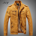 Winter Brand Motorcycle Leather Jackets Men PU Leather Men Jacket Thicken Faux Fur jaqueta de couro masculina overcoat hombre