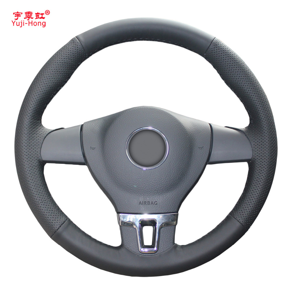 Yuji Hong Top Layer Genuine Cow Leather Car Steering Wheel Covers Case for Volkswagen VW Tiguan