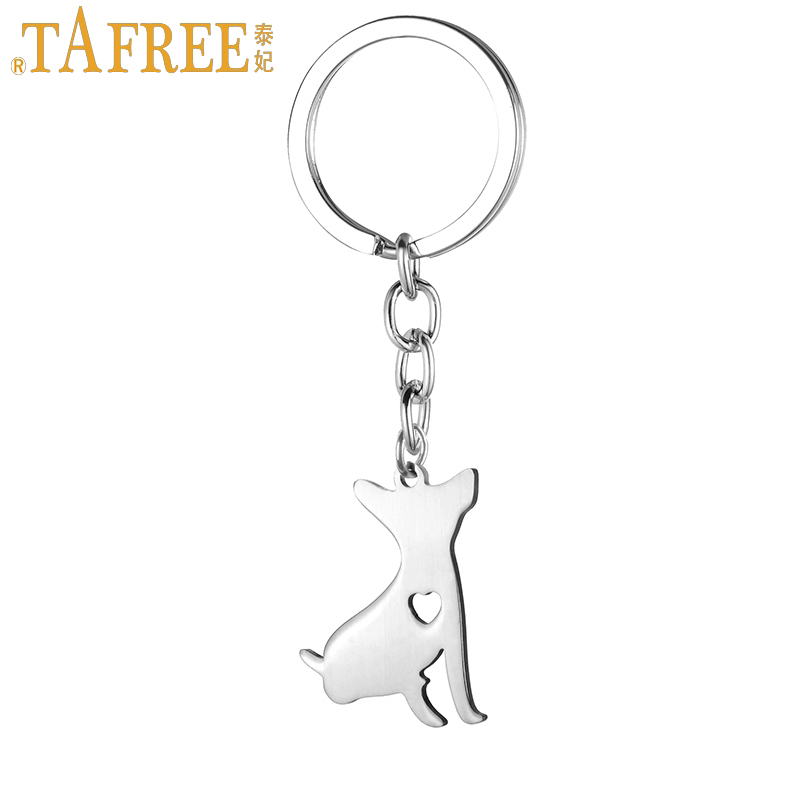 TAFREE 2017 New Dog Pendant Key Chain Ring Holder Stainless Steel Mexico Chihuahua Animal Keychain For Women Men Jewelry SKU05