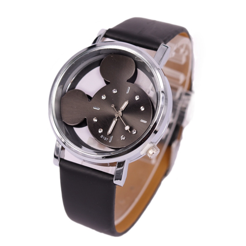 6Pcs/lot Women Watches Luxury Mouse Shaped Quartz Ladies Watch Crystal Leather Watch Woman Relojes Mujer Montre Femme