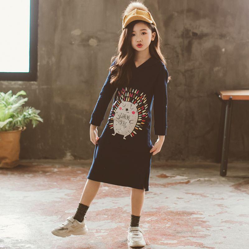 Nouveau 2019 Printemps Bébé robe pour filles Petits Enfants Coton Robe sweat à capuche enfants En Bas Âge Longue Style Chemises de Bande Dessinée Motif, #3008 - 3