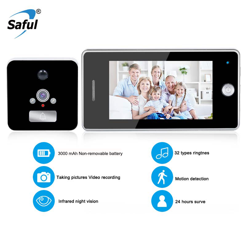 Saful 4.3 Inch LCD Color Screen 3000mAh Smart Door Camera Motion Detect Video Recording Door Peephole Viewer Camera Video-eyeSaful 4.3 Inch LCD Color Screen 3000mAh Smart Door Camera Motion Detect Video Recording Door Peephole Viewer Camera Video-eye