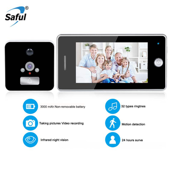 Saful 4.3 Inch LCD Color Screen 3000mAh Smart Door Camera Motion Detect Video Recording Door Peephole Viewer Camera Video-eye
