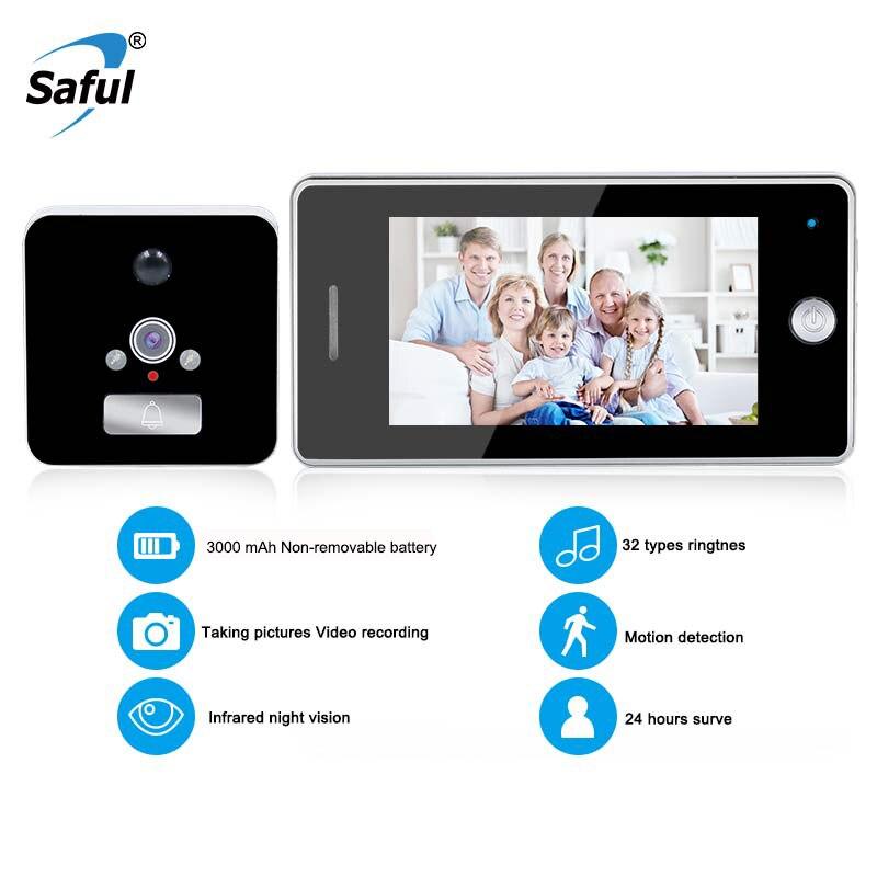 Saful 4.3 pouces écran couleur LCD 3000 mAh caméra de porte intelligente détection de mouvement enregistrement vidéo porte judas visionneuse caméra vidéo-oeil