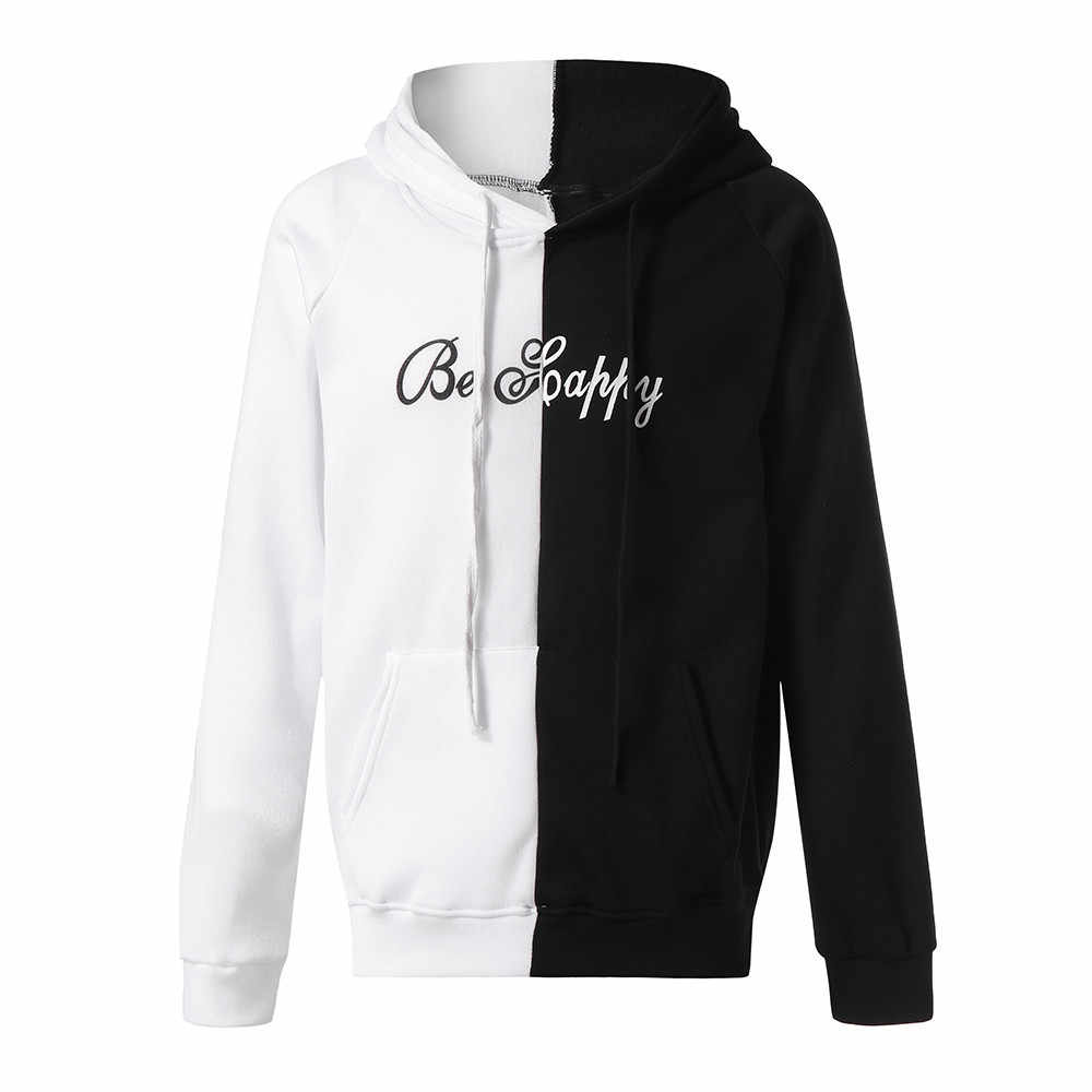 d81dfc4c JAYCOSIN Unisex Hoodie Two-Color Splicing Smiley Print Fashion Hoodie Sweat  Comfort Pocket Casual XL