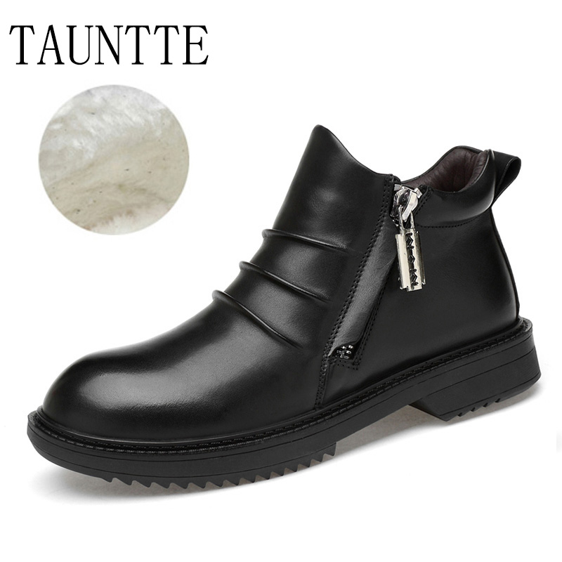 все цены на Winer Men's Chelsea Boots Genuine Leather Snow Boots Keep Warm Fashion Ankle Martin Boots With Fur онлайн