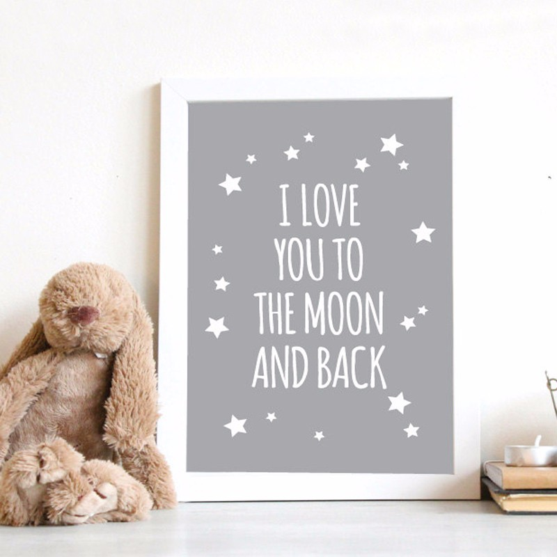 HOT Nursery Quotes I Love You To The Moon and Back Wall Art Poster ...