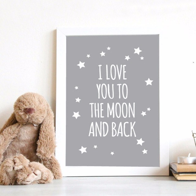 Hot Nursery Quotes I Love You To The Moon And Back Wall Art Poster