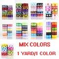 New arrival 3/8'' (10mm) MIXED colors polka dots printed grosgrain ribbons DIY hairbow ribbon 1 yards/1 color u pick