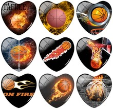 TAFREE Basketball On Fire Picture Heart Charm Glass Cabochon Cover Beads 25mm Dome Base Cover Pendant(China)