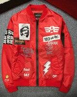New Arrival Alternative Rock Men's Flight Jacket Spring Autumn Streetwear Red Black Green Plus Size