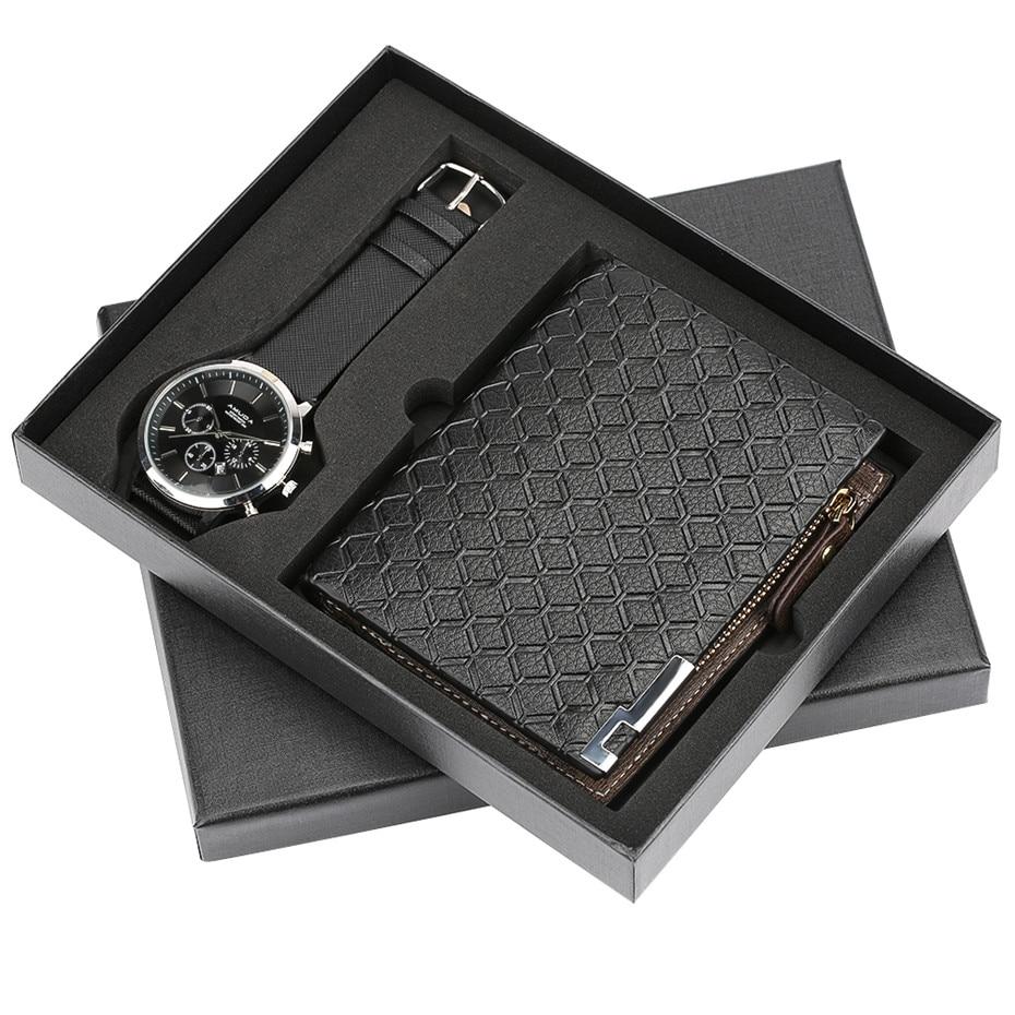 Mens Watch reloj masculino Leather Men's Quartz Clock Gift Set with Wallet Modern Black Male Wristwatches reloj Pin Buckle