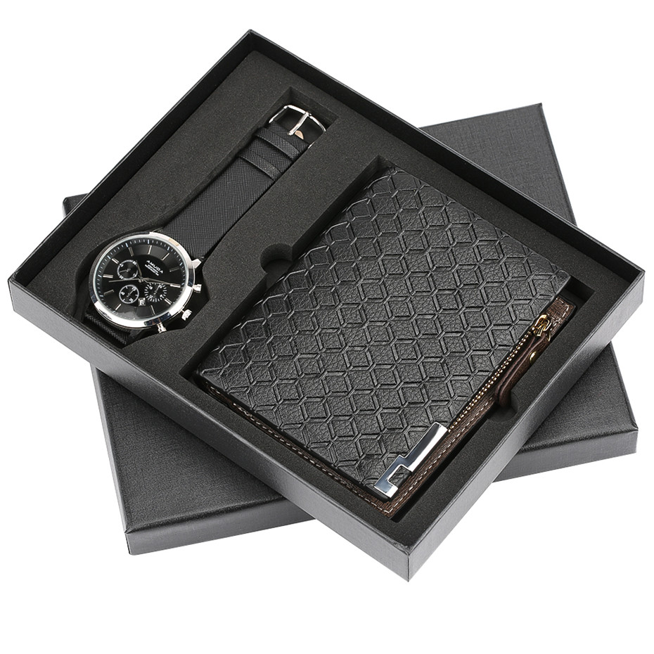 Mens Watch reloj masculino Leather Men's Quartz Clock Gift Set with Wallet Modern Black Male Wristwatches reloj Pin Buckle