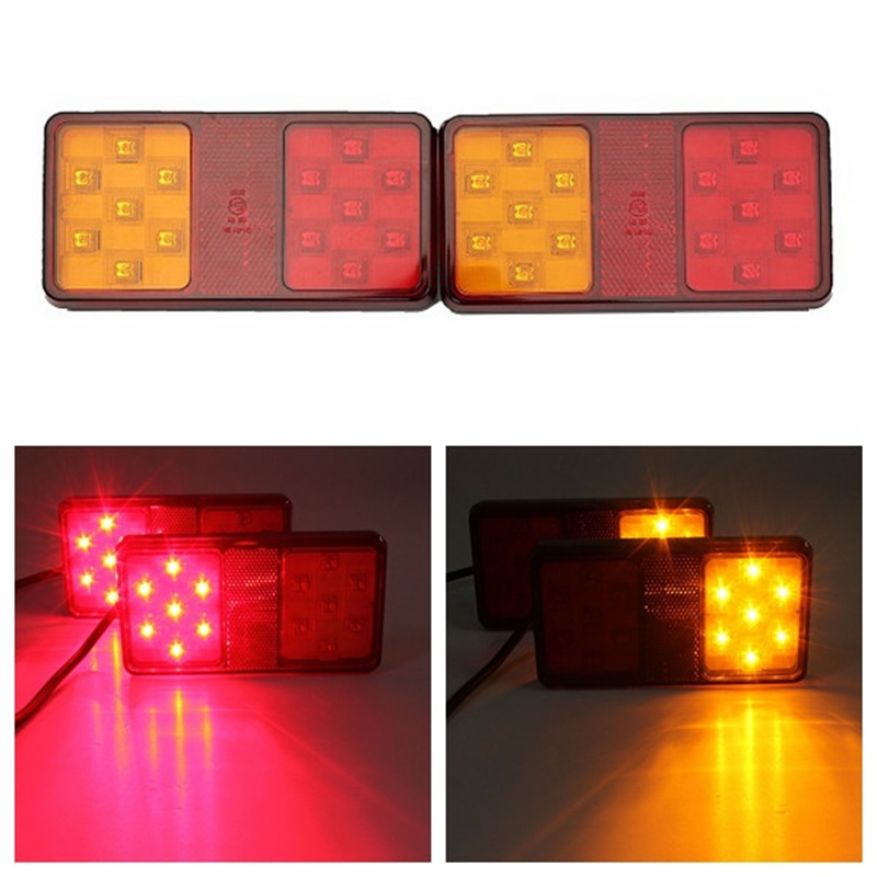2Pcs Waterproof LED Tail Light Rear Lamps Pair Boat Trailer 12V Rear Parts For Trailer Truck