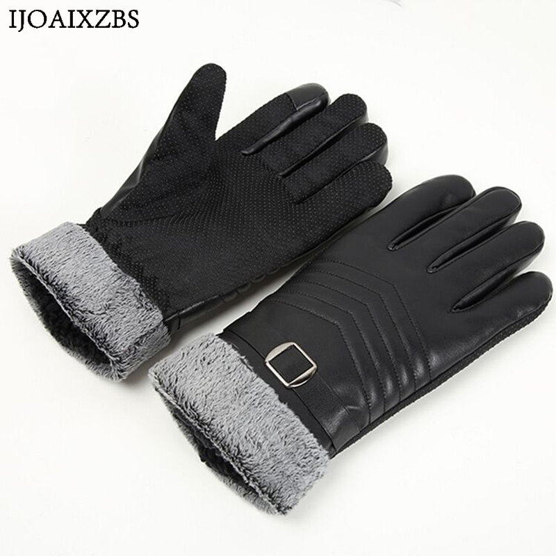 купить Natural Leather Gloves Men Winter Sensory Velet Tactical Gloves Fashion Wrist Touch Screen Cycling Motorcycle Keep Warm PU Glove дешево