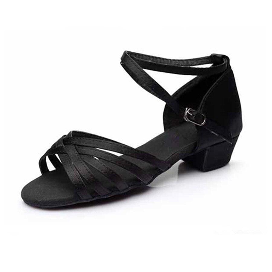 Black Low Heeled Latin Dance Shoes Woman Girls Shoes Salsa Ballroom Dancing Shoes Zapatos De Baile Latino Mujer Free Shipping
