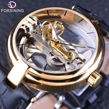 Forsining 2017 nowy złoty szkielet zegarek pasek z prawdziwej skóry męskie zegarki automatyczne Top marka luksusowe odporny na działanie wody