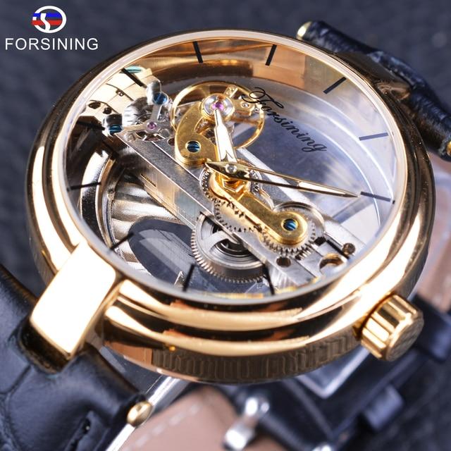 Forsining Reloj de esqueleto dorado para hombre, correa de cuero genuino, automático, resistente al agua, 2017