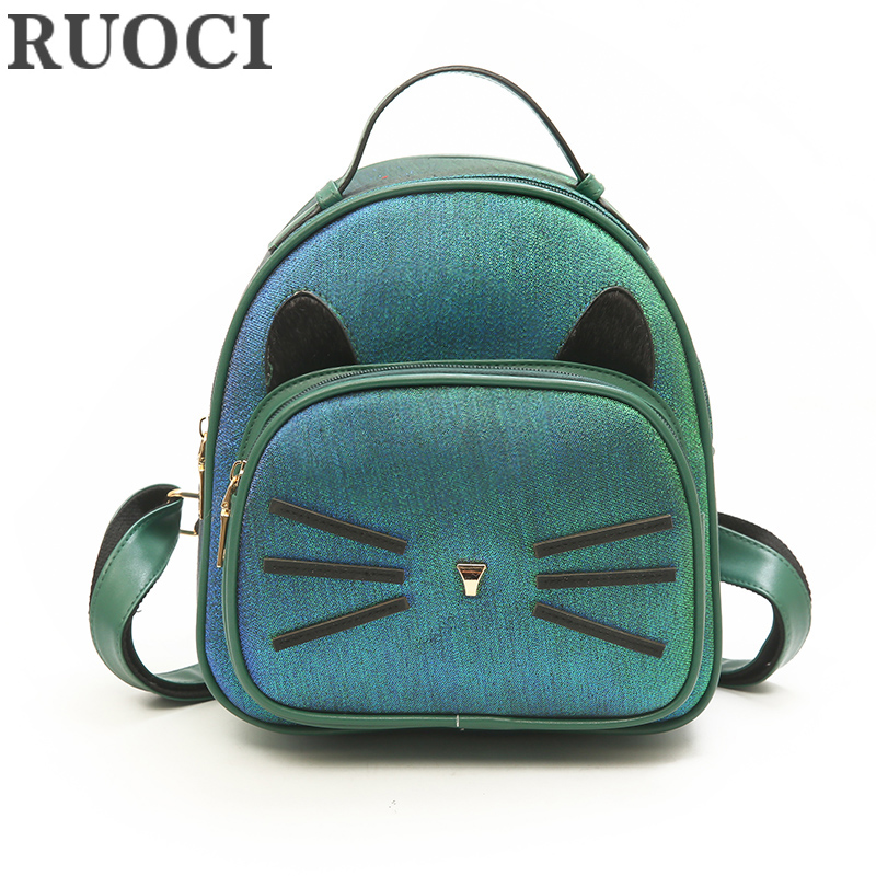 RUOCI Cute Cat Mini PU Leather Women Backpack Children School Bags Small Back Pack Kids Girls Casual Ladies Shoulder Travel Bags