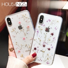 Flowers Phone Case For iPhone 7 8 plus XR XS Max Fashion Real Dried Flower Transparent 6 6s Plus Soft TPU Girls