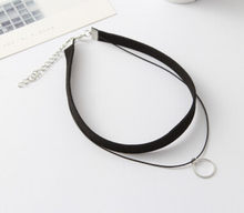 N334 2019 Hot Faux Leather Choker Fashion Simple Black Velvet Rope Silver round False Collar Necklace women collier Bijoux(China)