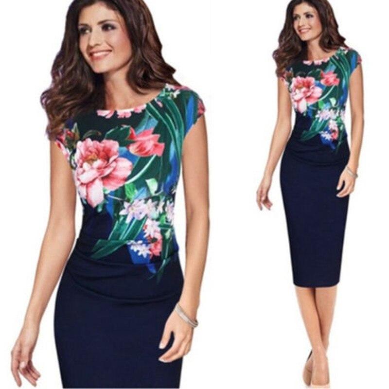 Fashion Elegant Office Ladies Dress Formal Business Work Floral Pencil Slim Bodycon Midi Dresses Summer Flower Clothes