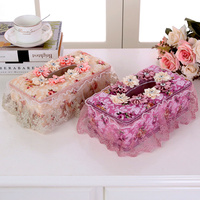 Tissue Box Cloth Art Fashion Lovely Creative European Lace Car With The Living Room Paper Box