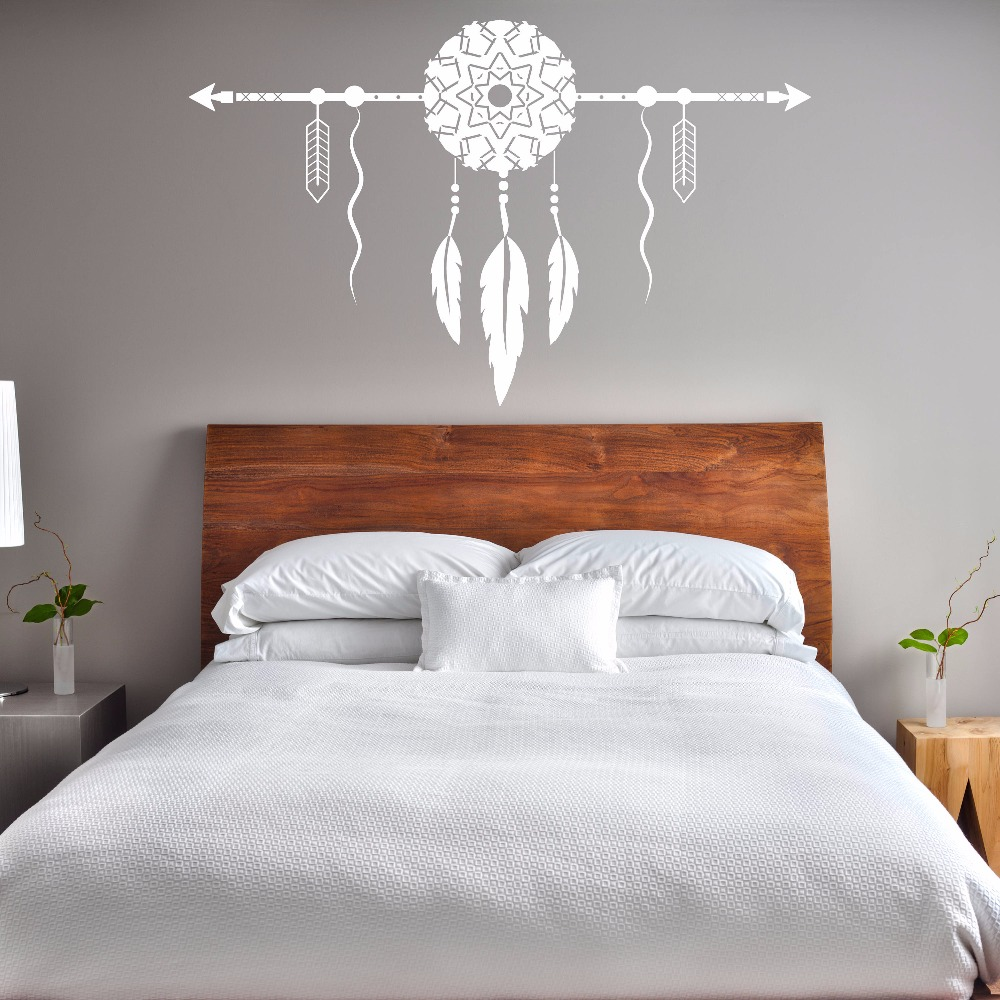 US $7.1 30% OFF|Dream Catcher With Arrow Wall Decal Bedroom Decor New  Design Dream Catcher Vinyl Wall Sticker Removable Home Wallpaper AY1601-in  Wall ...